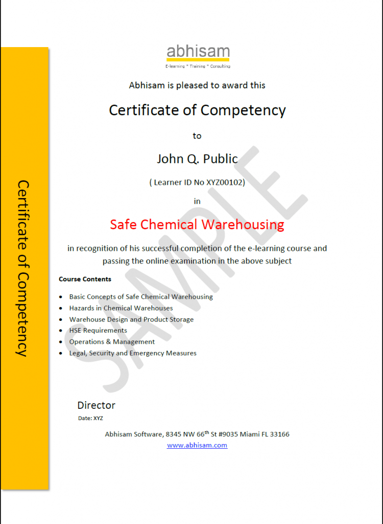 Abhisam Chemical Warehouse Certificate