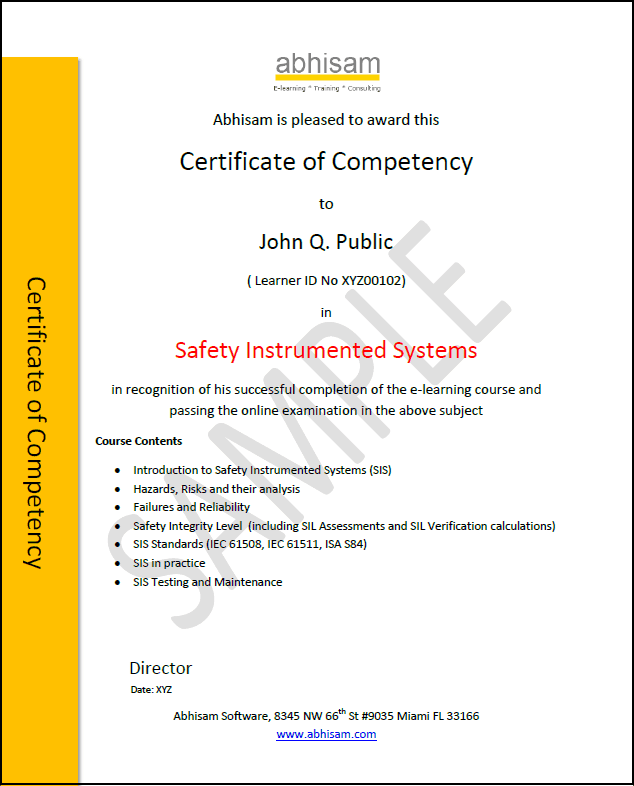 Abhisam Safety Instrumented Systems Certificate