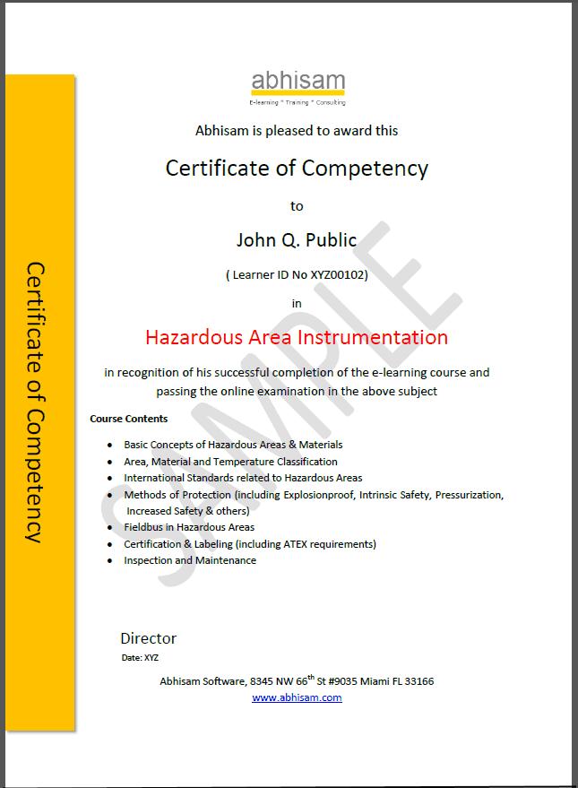 Abhisam Hazardous Area Instrumentation Certificate