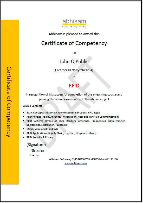 RFID Certificate